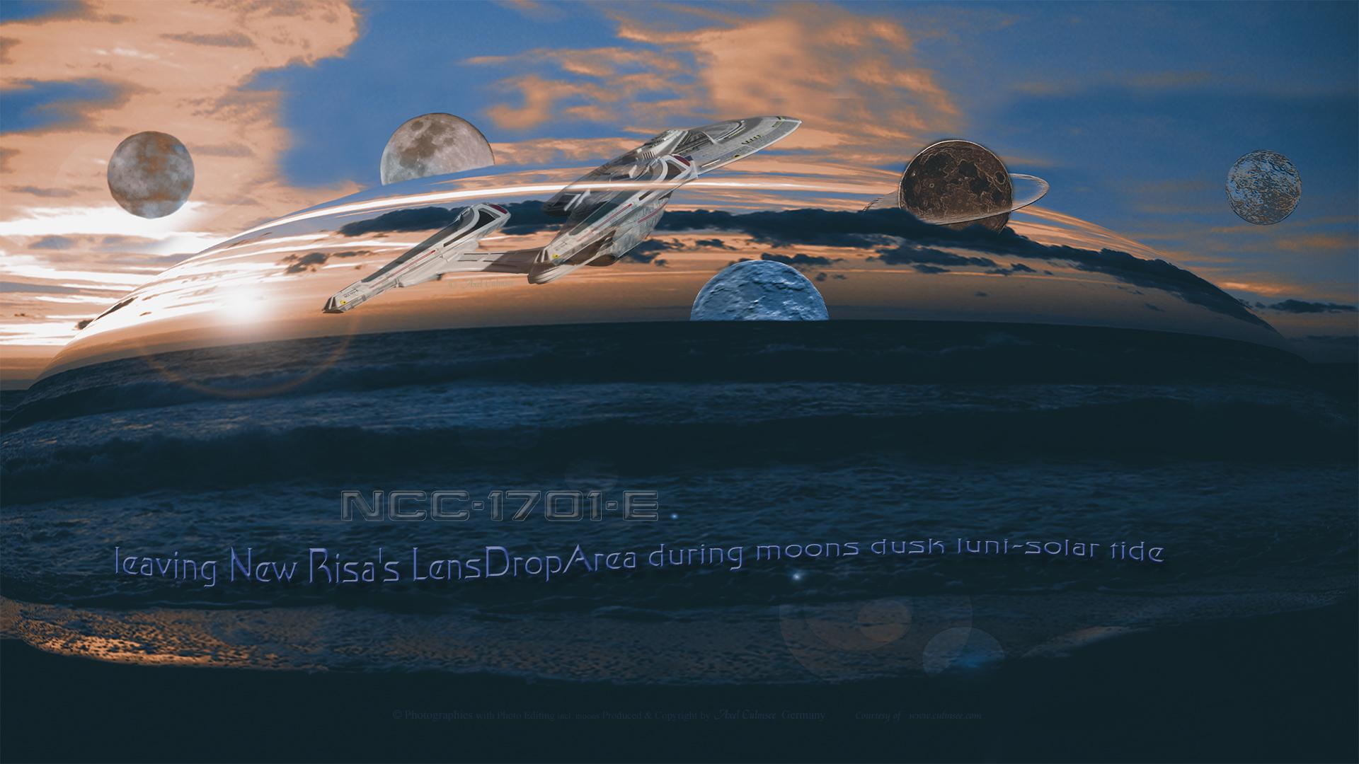 Enterprise-E leaving New Risa's LensDropArea during moons dusk luni-solar tide