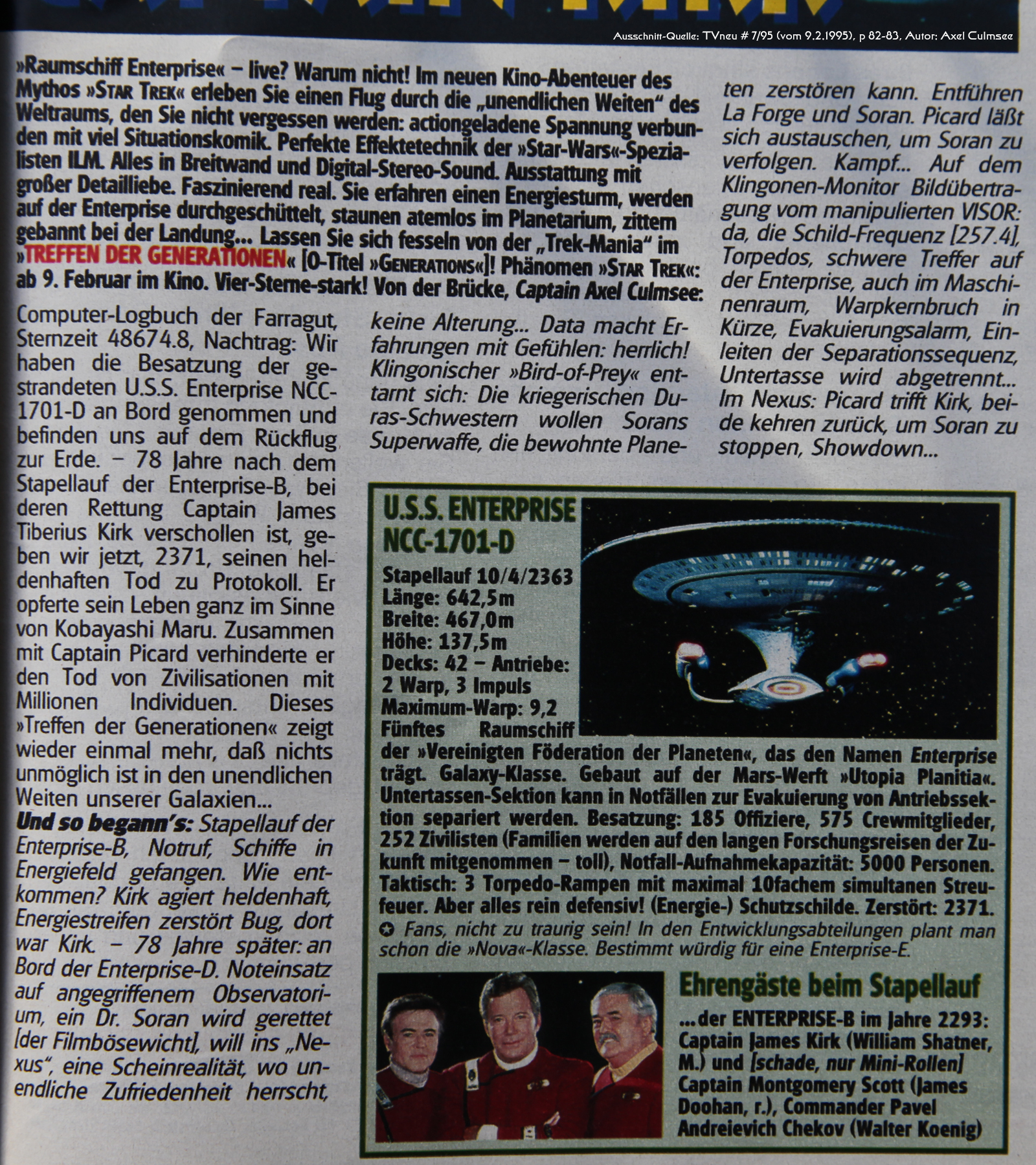 Star Trek Generations-Artikel in TVneu 7-1995 Ausschnitt Text