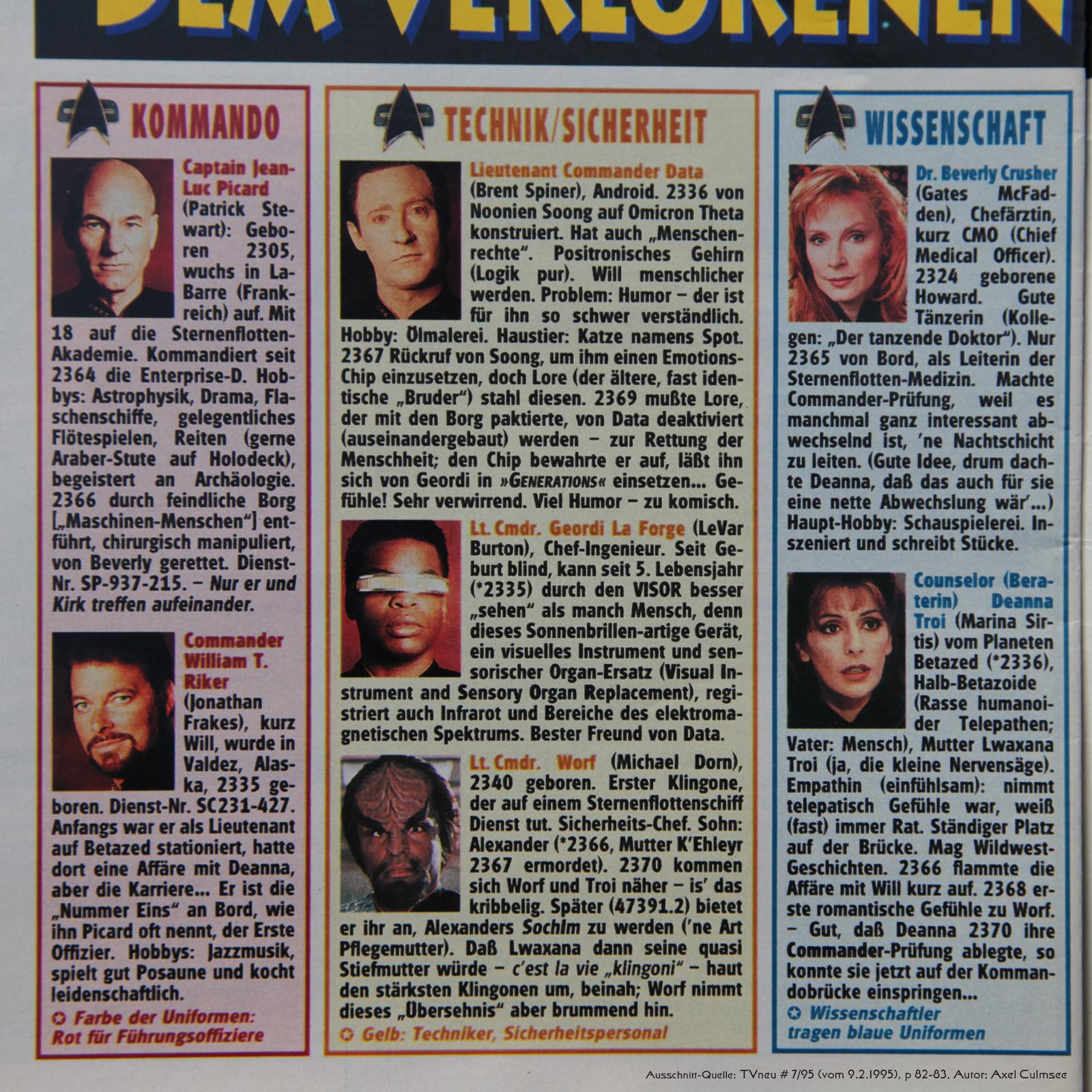 Star Trek Generations-Artikel in TVneu 7-1995 Ausschnitt TNG Crew