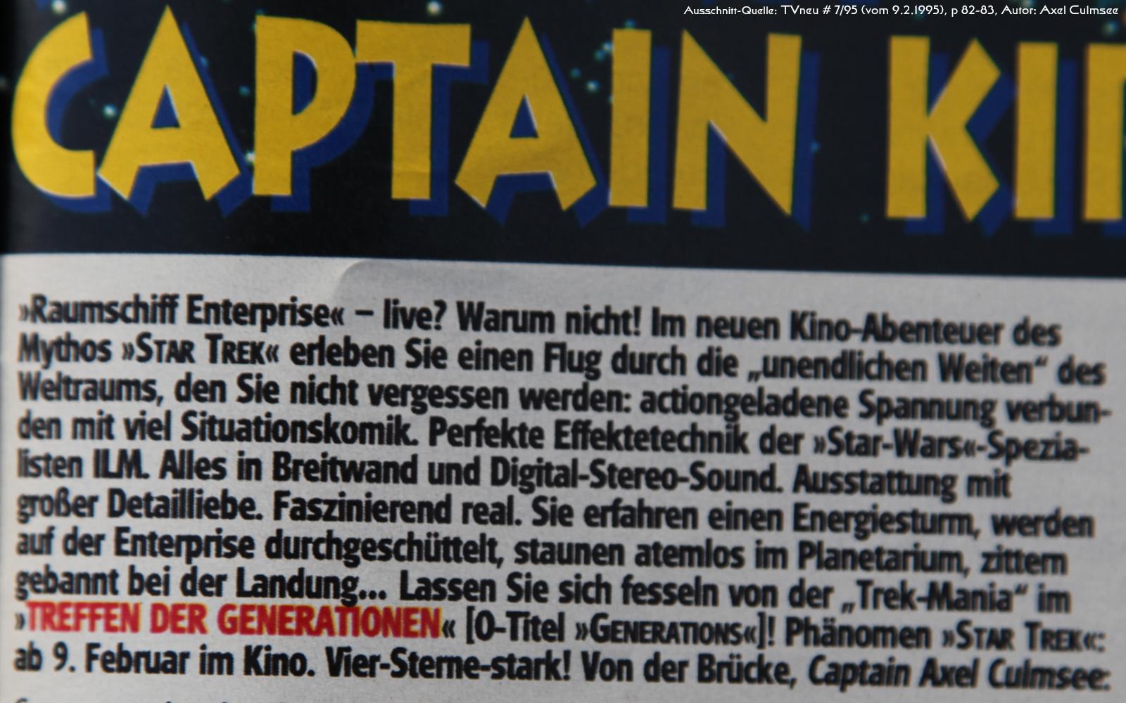 Star Trek Generations-Artikel in TVneu 7-1995 Ausschnitt Teaser