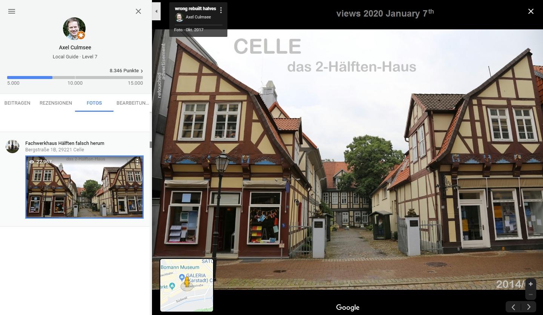 Celle Fachwerkhaus-Hälften falsch herum bei Google Maps von Local Guide Axel Culmsee 22k views
