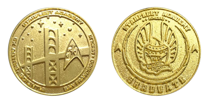 Star Trek 50th anniversary coin Graduate Starfleet Academy, variation with mixtion and gold-dust powder Courtesy of Daniel Gerstenberg