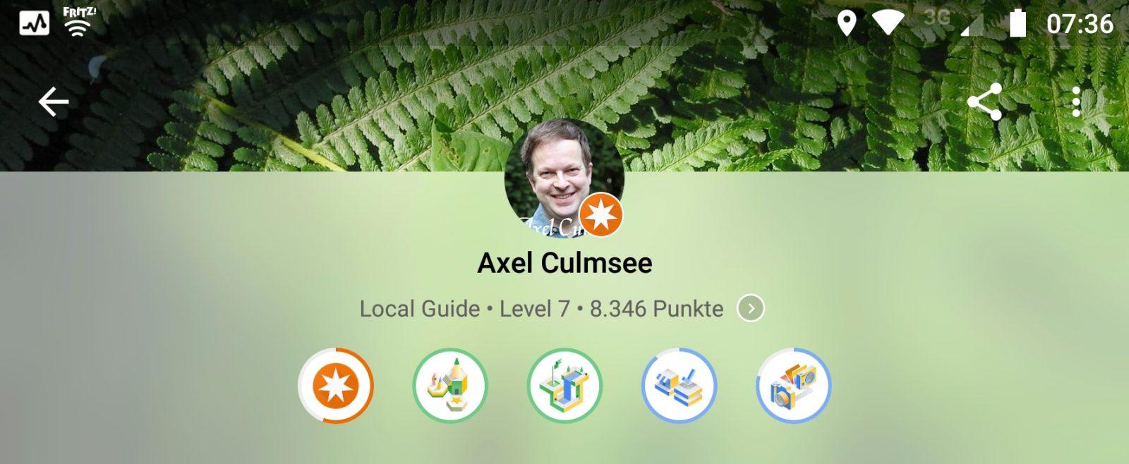 Local Guide Abzeichen Rezensent-/ Wegbereiter-Meister und Experte Fotograf / Faktenermittler bei Google Maps