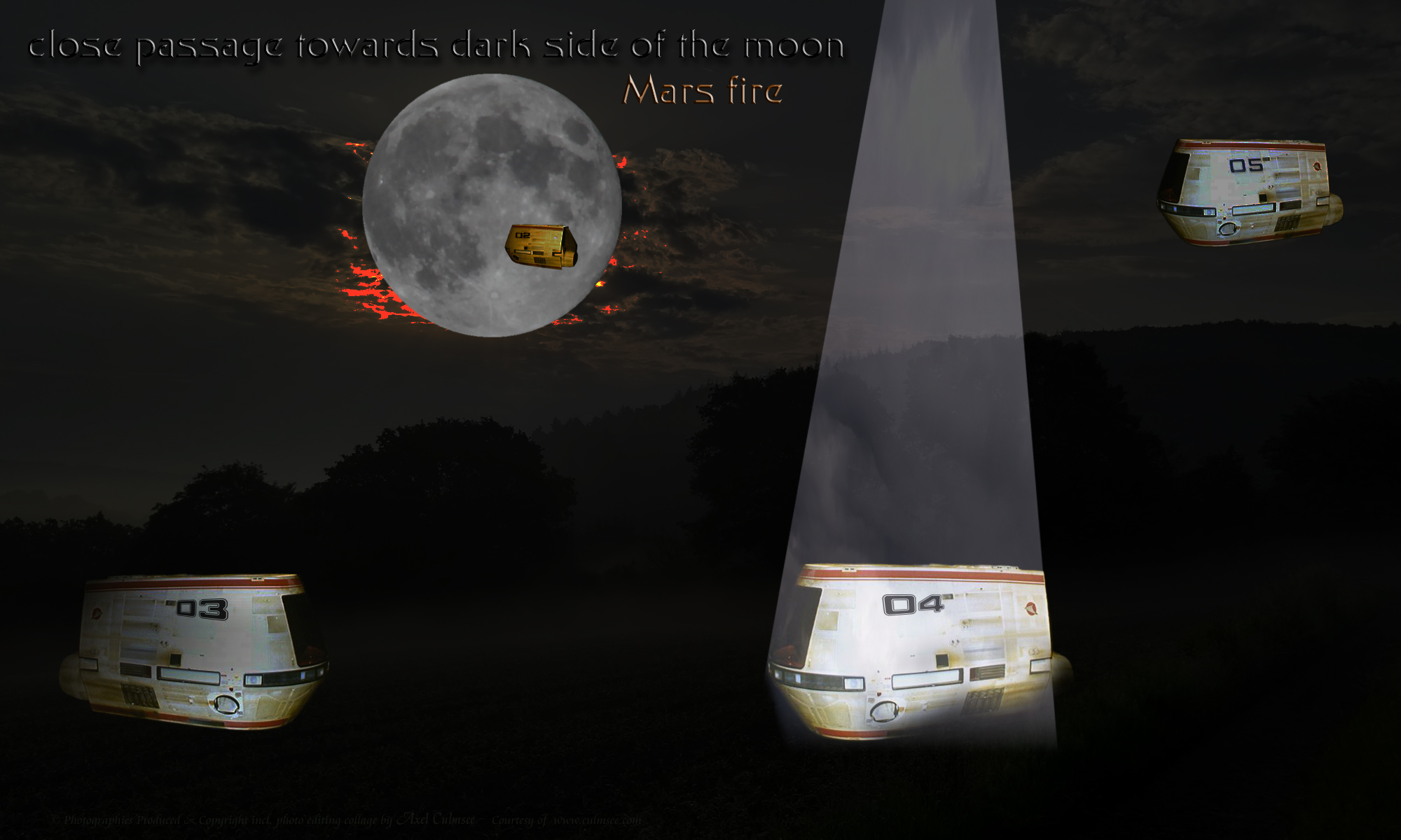 Travel Pods close passage towards dark side of the moon Mars fire