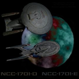 NCC-1701-D with -E across multi atmospheric moon