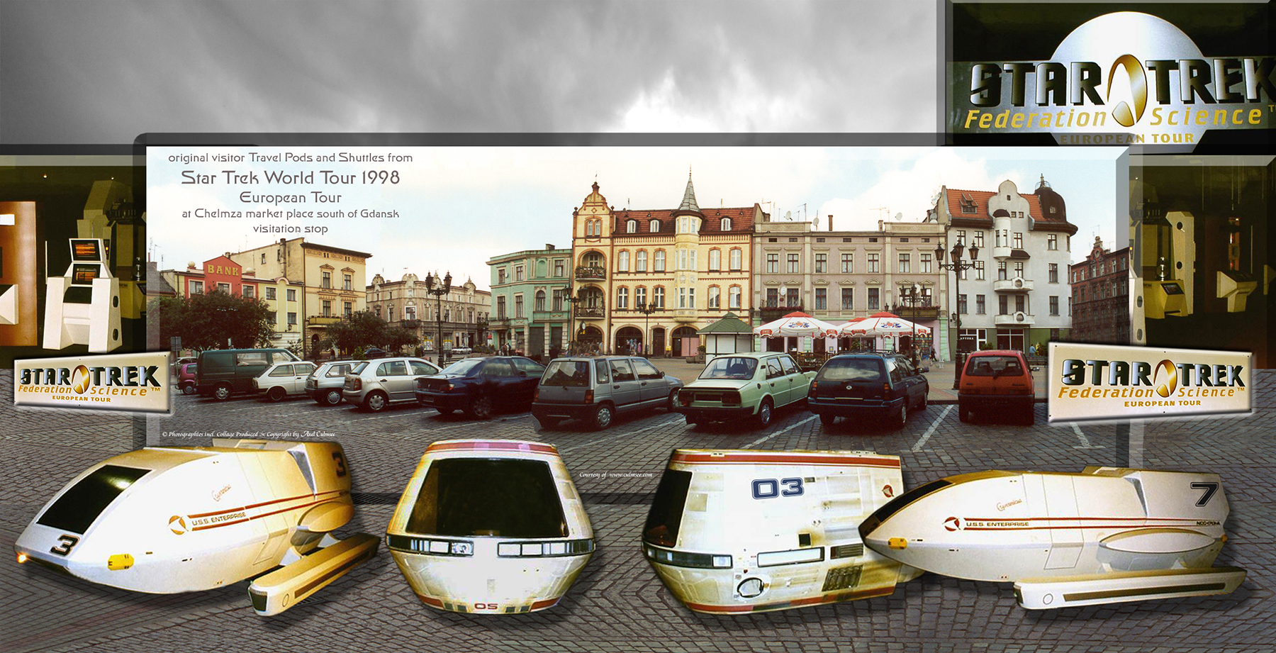 original visitor Travel Pods and Shuttles from Star Trek World Tour 1998 during European Tour at Chelmza market place south of Gdansk with visitation stop