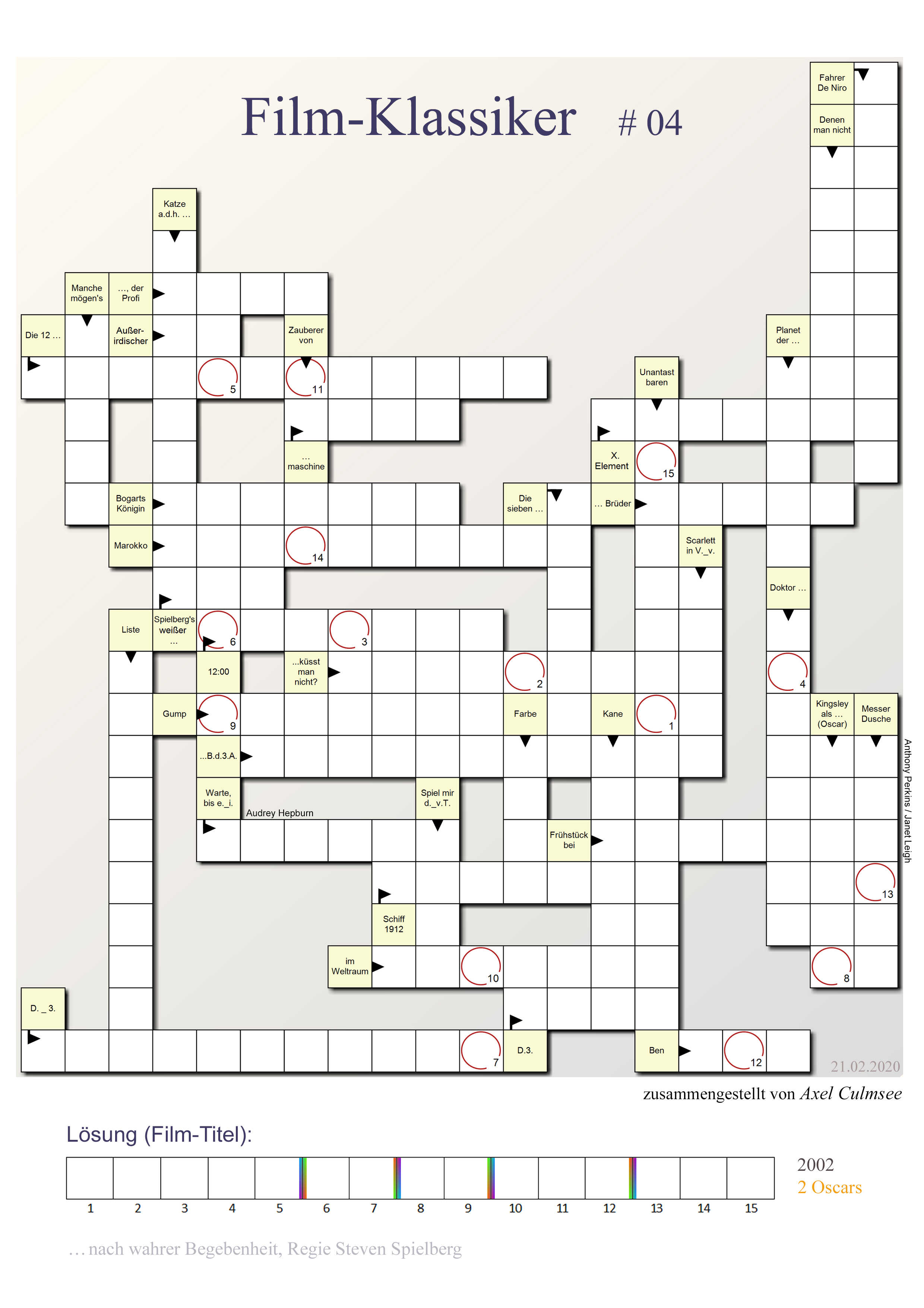 Kriminalfilm-Klassiker crossword puzzle 04