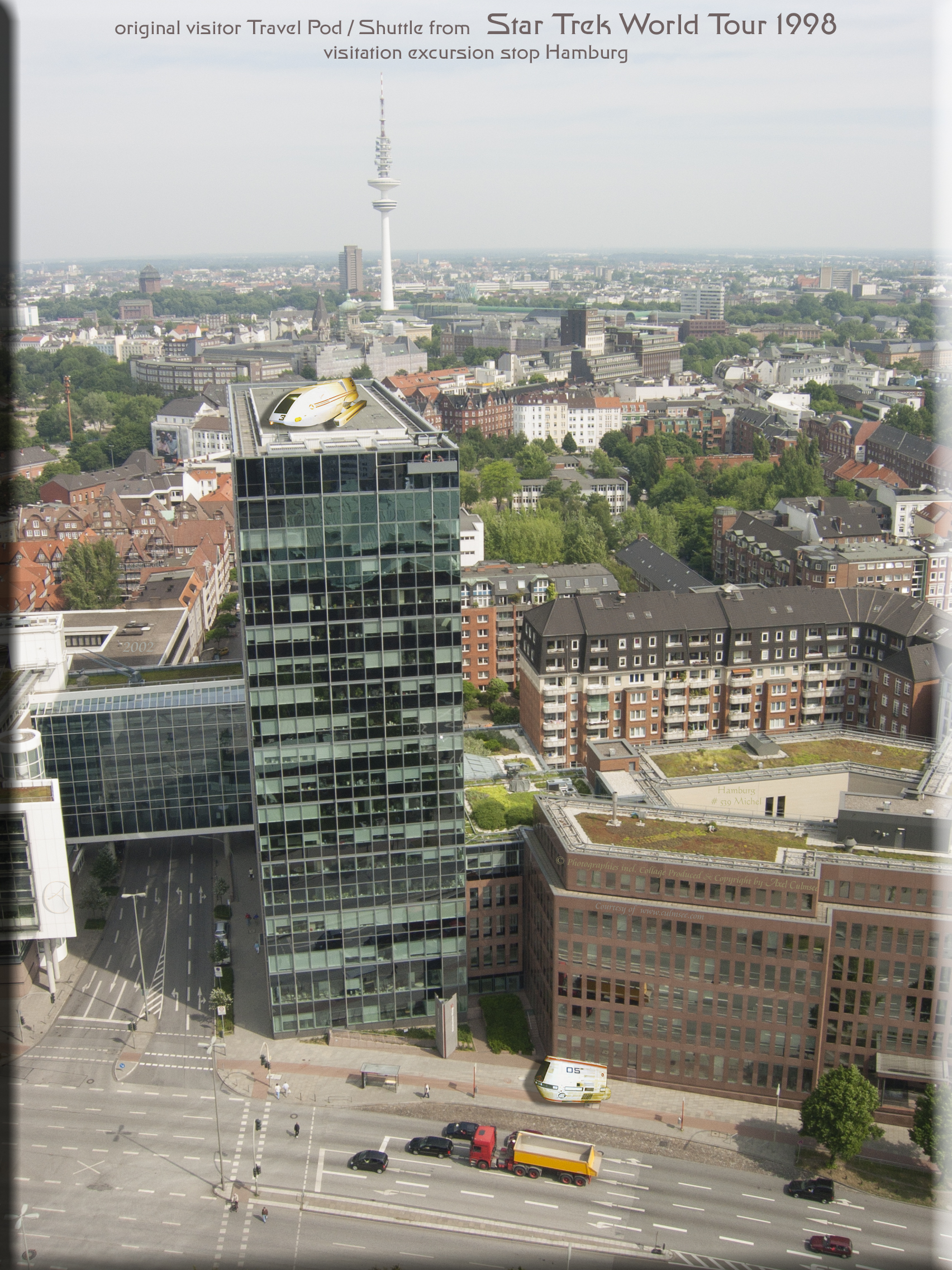Shuttle Travel Pod timeline STWT 1998 Federation Science European Tour Hamburg City seen from St. Michael's Church