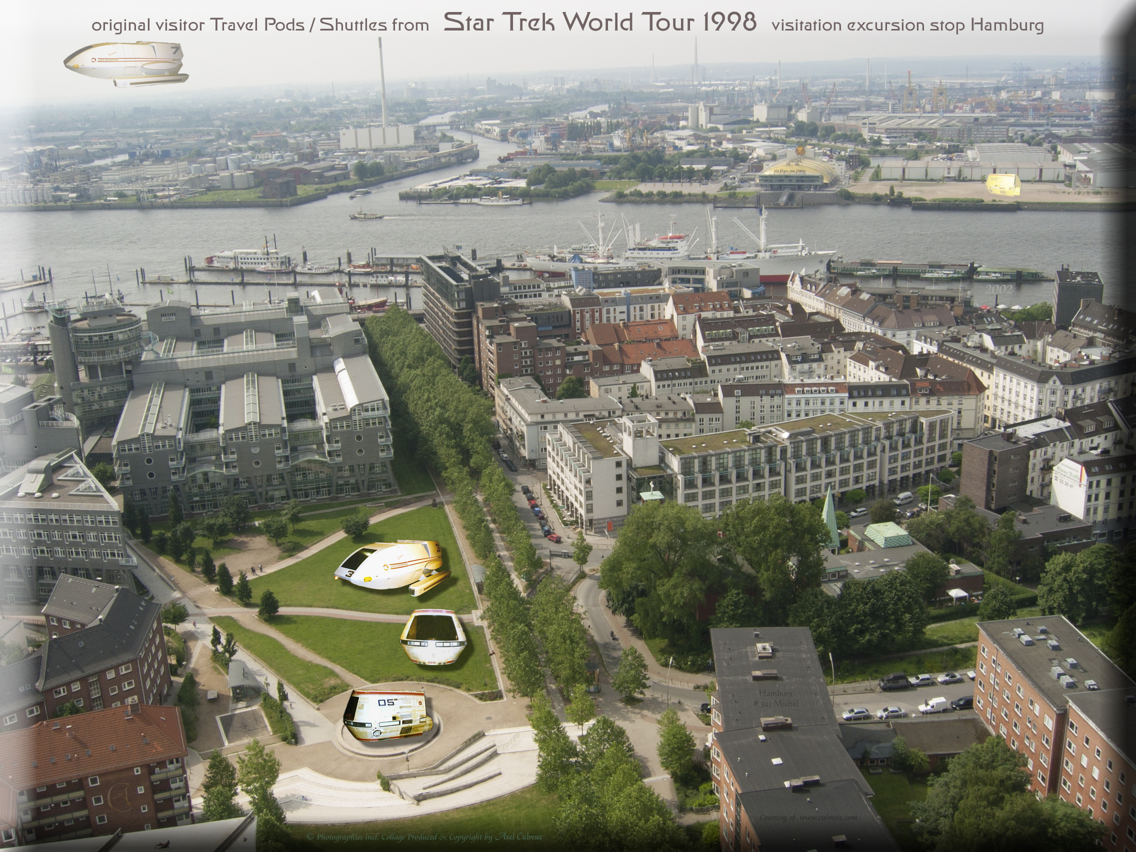 Shuttles Travel Pods timeline STWT 1998 Federation Science European Tour Hamburg harbour seen from St. Michael's Church