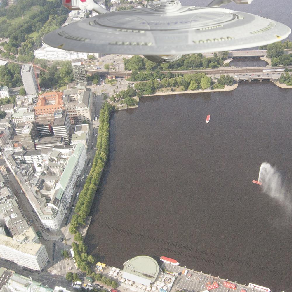 Enterprise-E seen over Hamburg during helicopter flight across Inner Alster Lake
