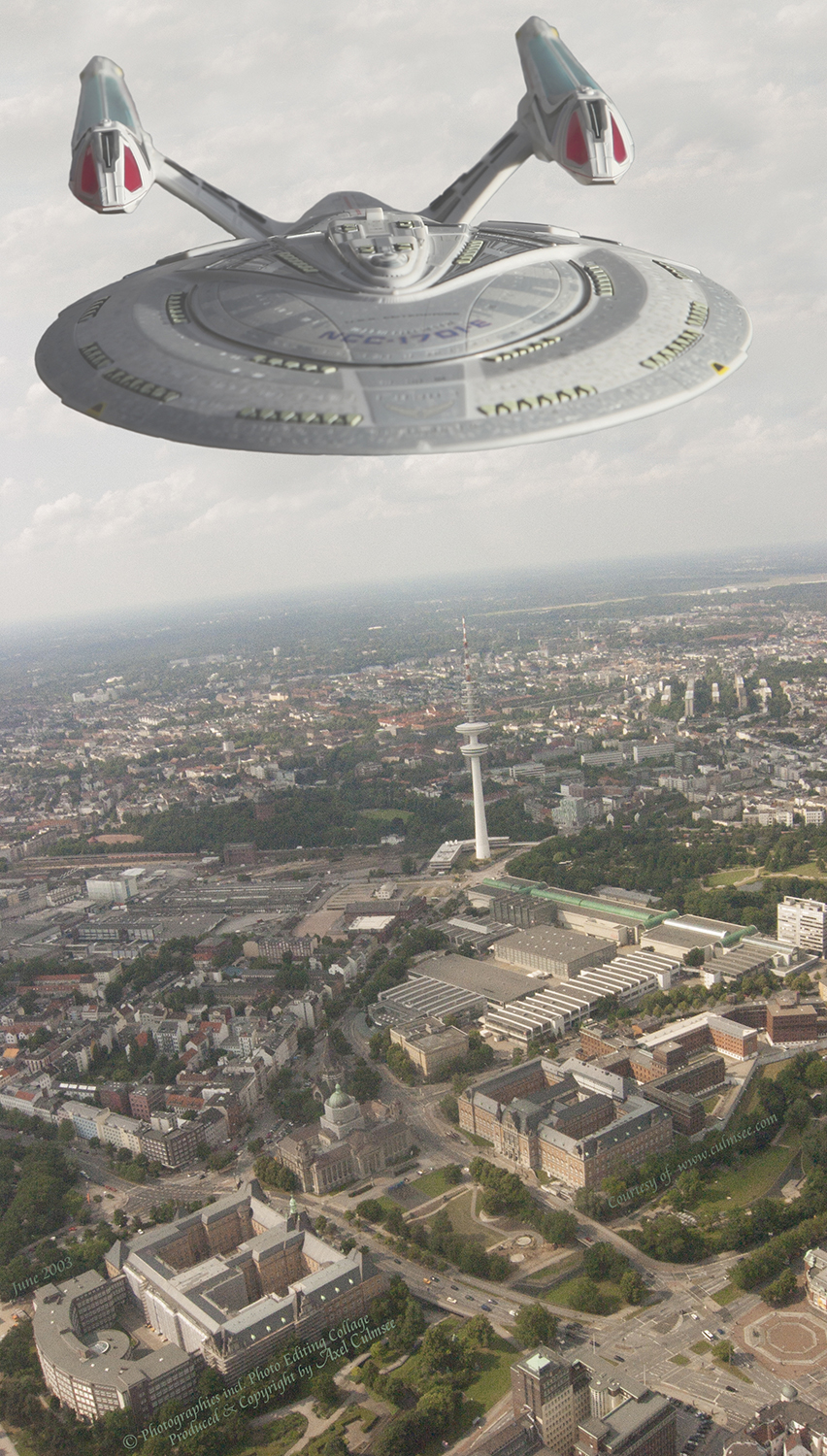 Enterprise-E seen over Hamburg during helicopter flight across radio tower