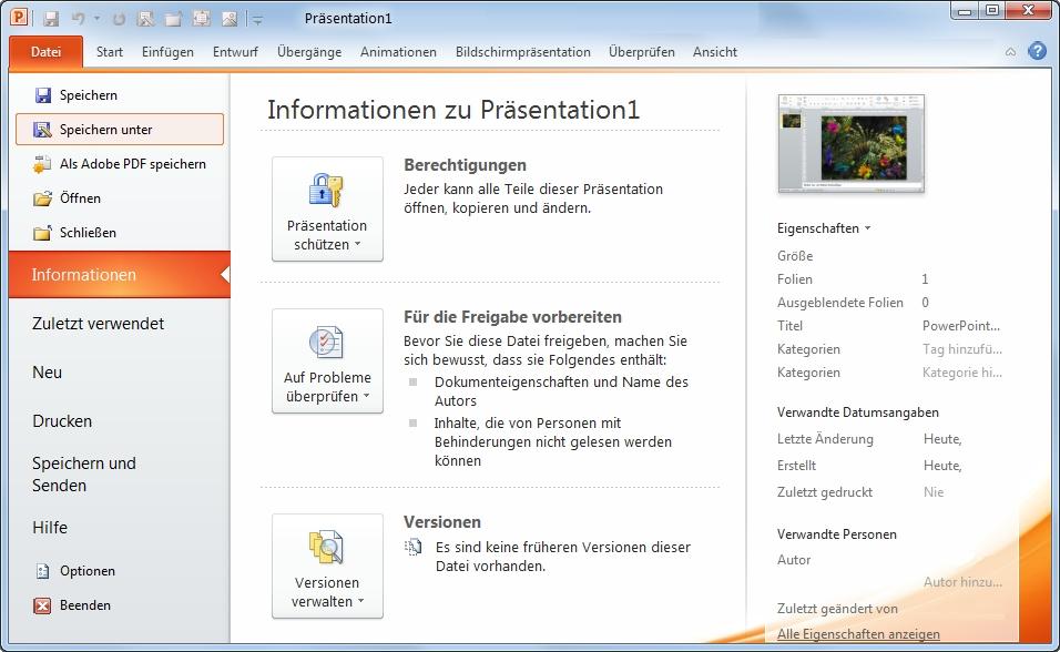 PowerPoint Datei speichern unter