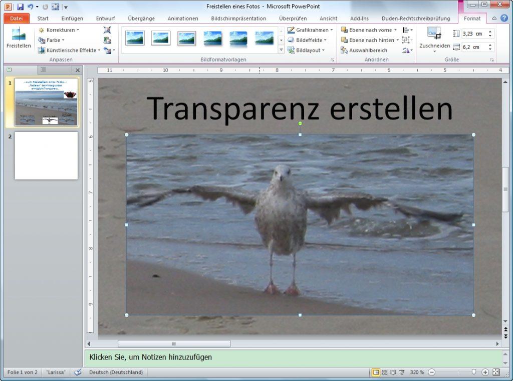 PowerPoint freistellen gezoomt