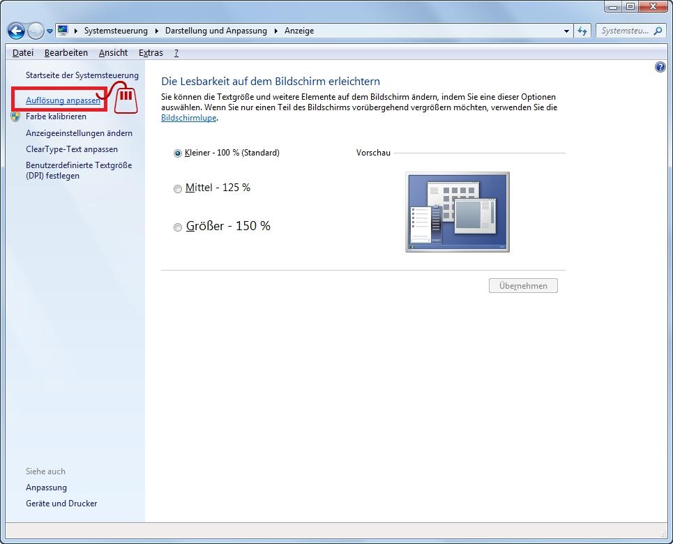 Monitor-Fenster Anzeige