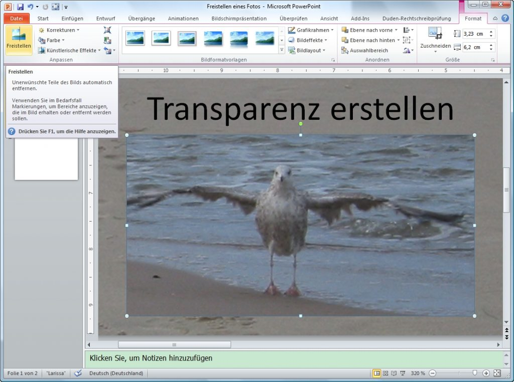 PowerPoint freistellen Button