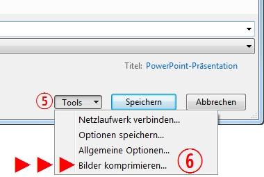 PowerPoint Tools Bilder komprimieren