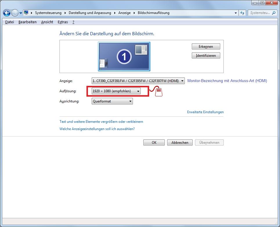 Monitor-Fenster Bildschirmaufloesung