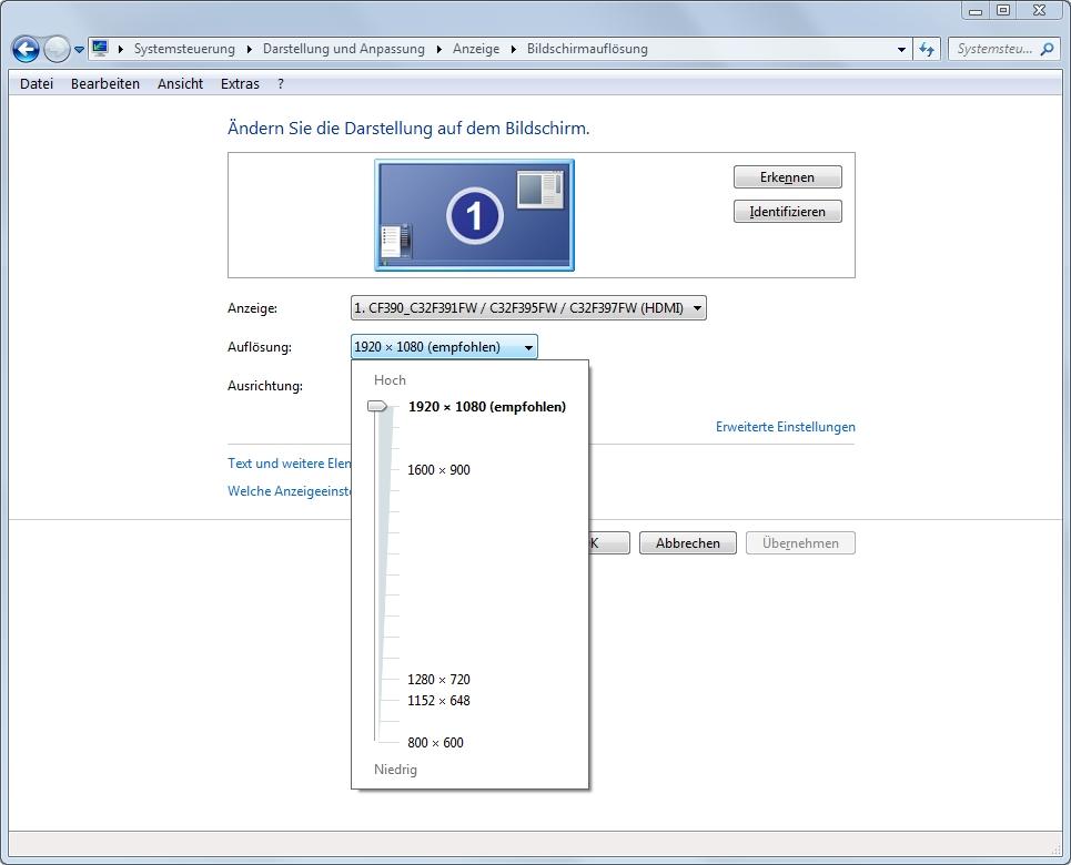 Monitor-Fenster Bildschirmaufloesung einstellen