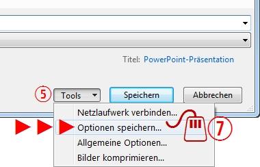 PowerPoint Optionen Speichern