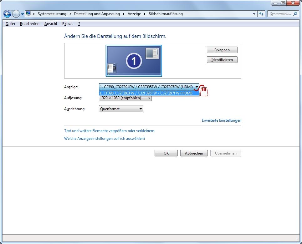Monitor-Fenster Bildschirmaufloesung Anzeige Auswahl