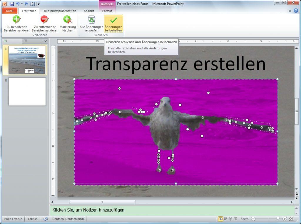 PowerPoint Arbeitsflaeche freistellen Marker Schaltflaeche