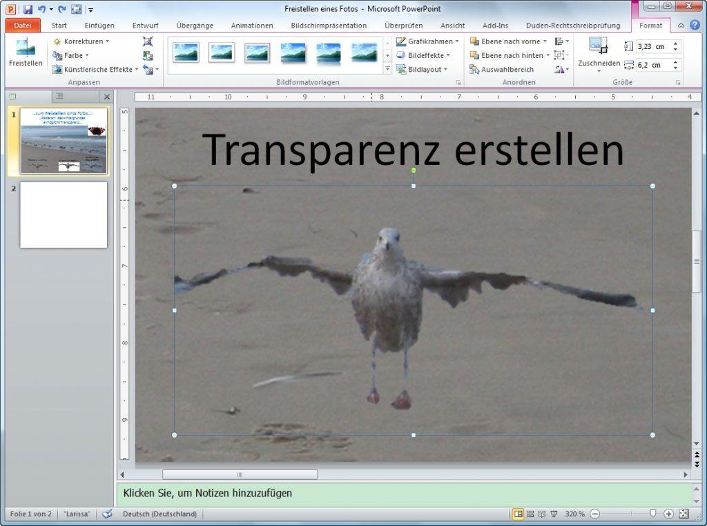 PowerPoint freistellen Arbeitsflaeche Aenderungen