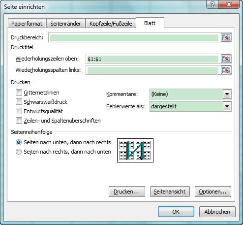 Excel Seite einrichten mit Wiederholungszeile