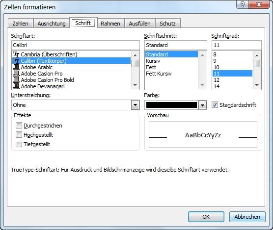Excel Zellen formatieren Strg1 Register Schrift
