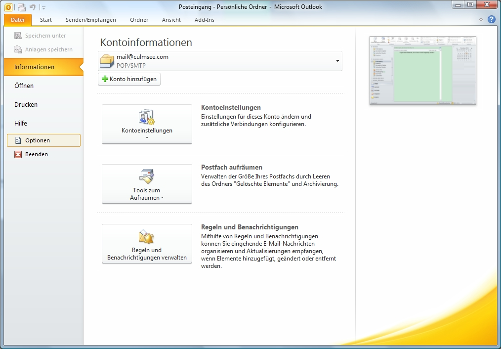 Outlook Datei-Register Optionen