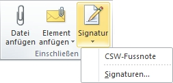 Outlook Signatur-Button Auswahl