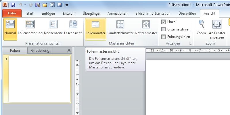 PowerPoint Folienmaster Register-Ansicht