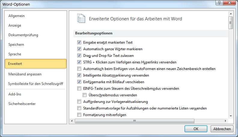 Word Datei-Register Optionen erweitert