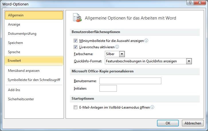 Word Datei-Register Word-Optionen