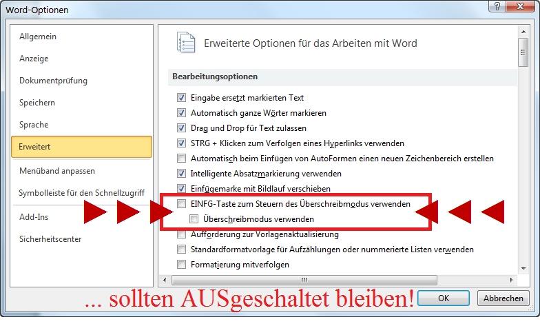Word-Optionen erweitert Insert-Option ausgeschaltet