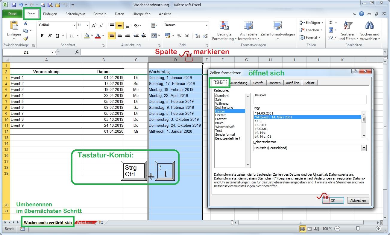 Excel Datum-Tabelle erweitern Langform