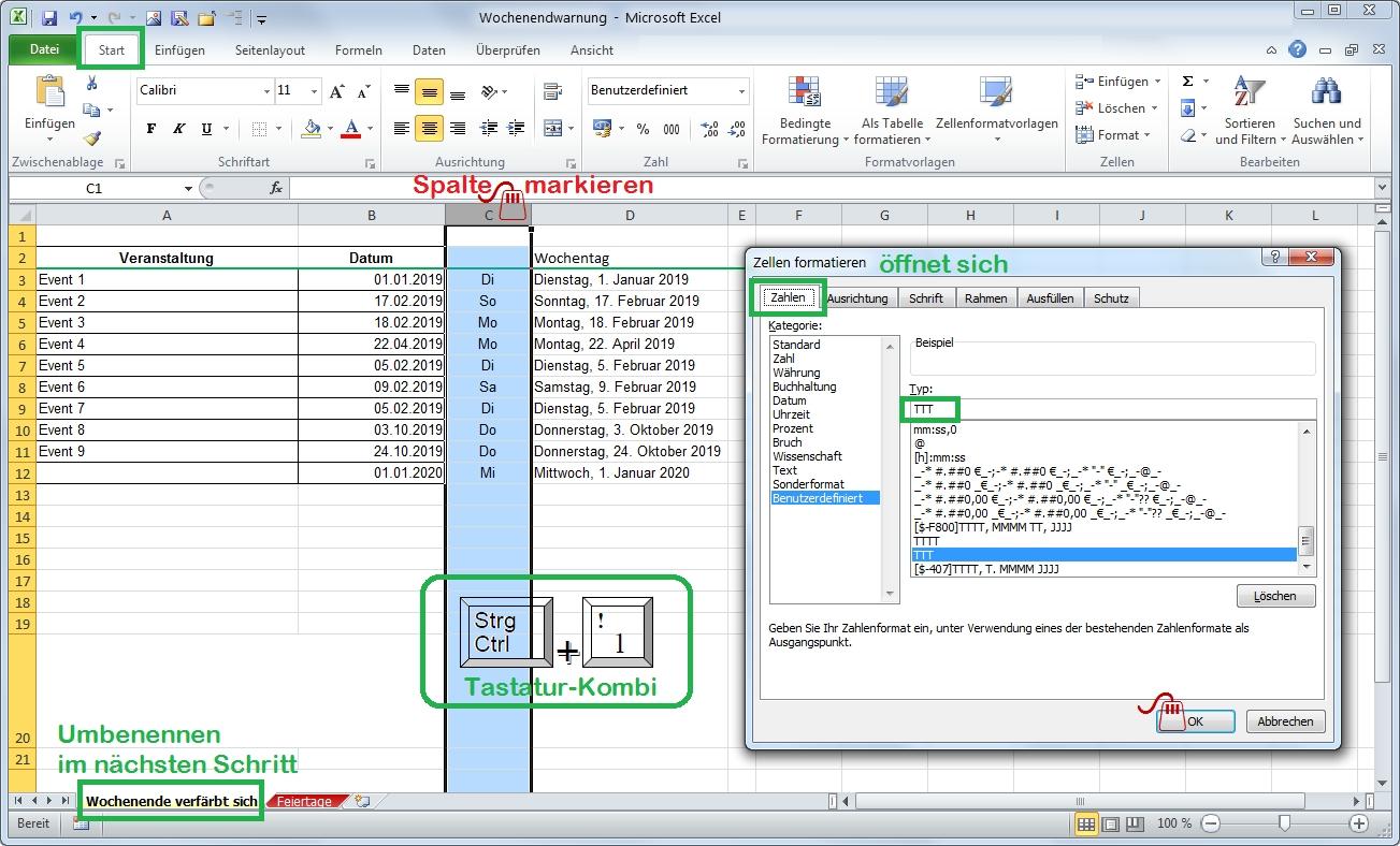 Excel Datum-Tabelle erweitern Wochentag Kurzform
