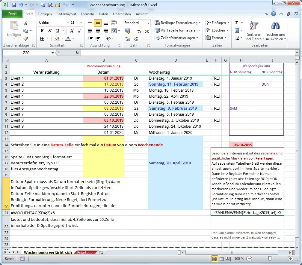 Excel Feiertage farbig hervorgehoben per Regel-Formel