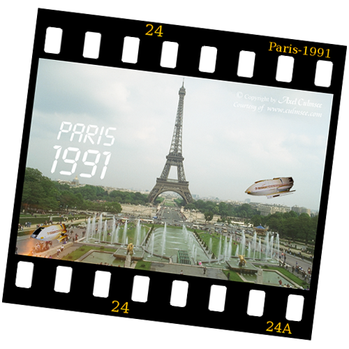 slide Paris 1991 Eiffel Tower with shuttles