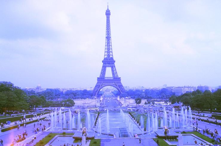 Eiffelturm manuell blau