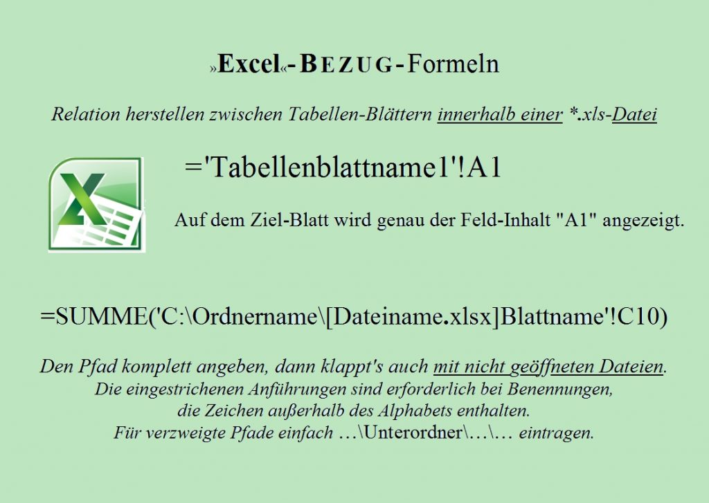 Excel Bezug-Formeln