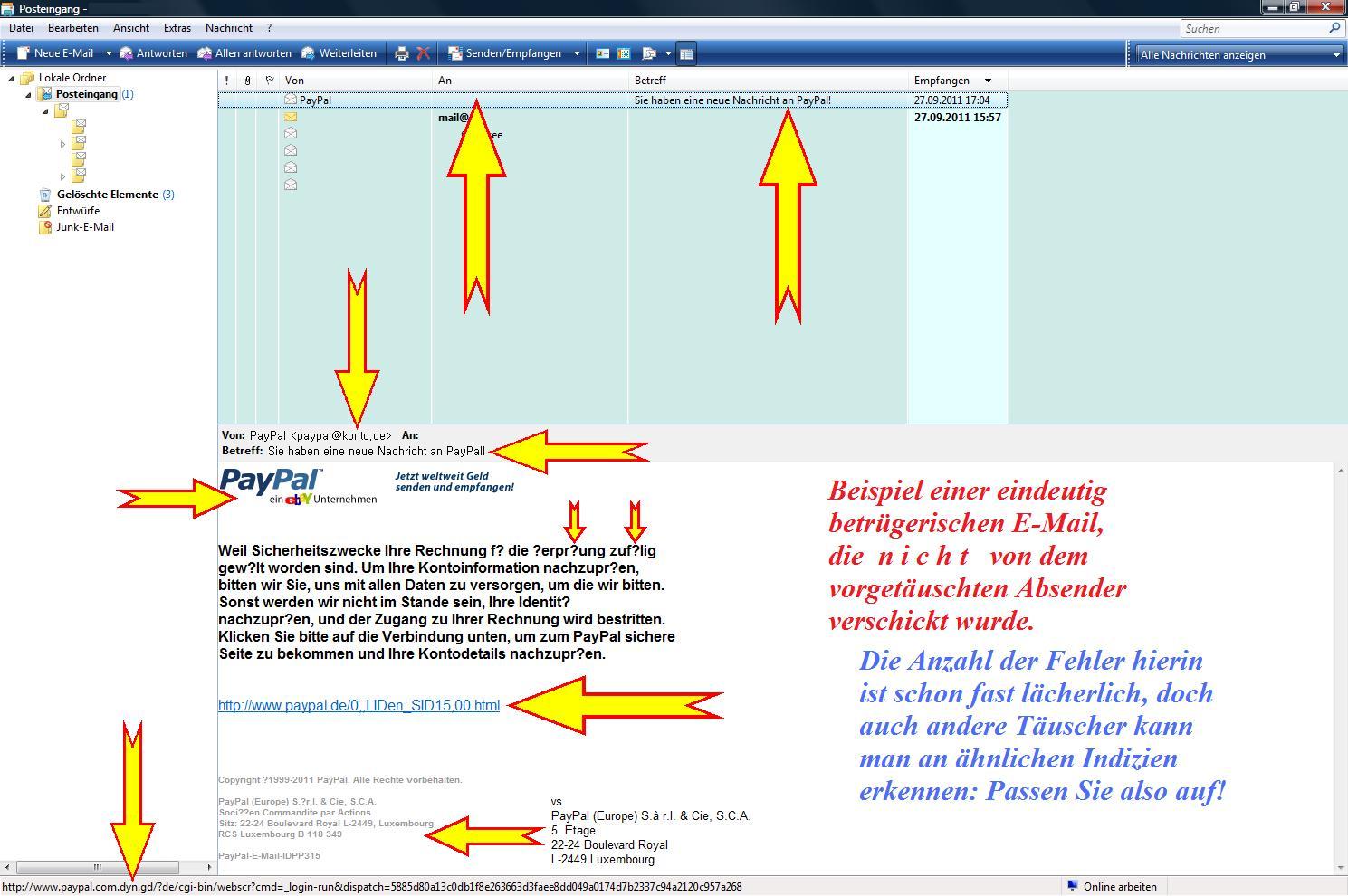 Phishing-Beispiel 1