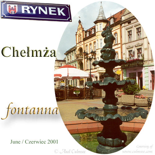 Chelmza Rynek fountain June 2001 at market place