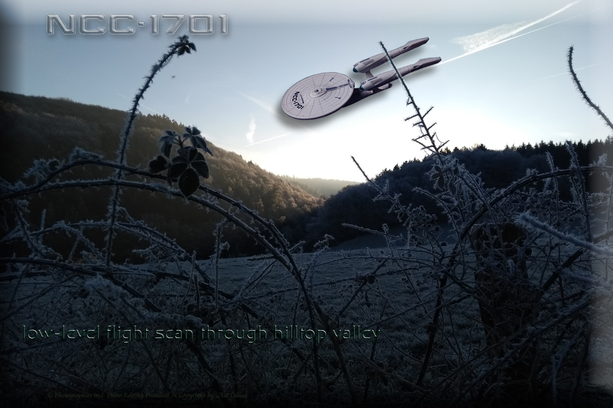 1701 low-level flight scan through hilltop valley