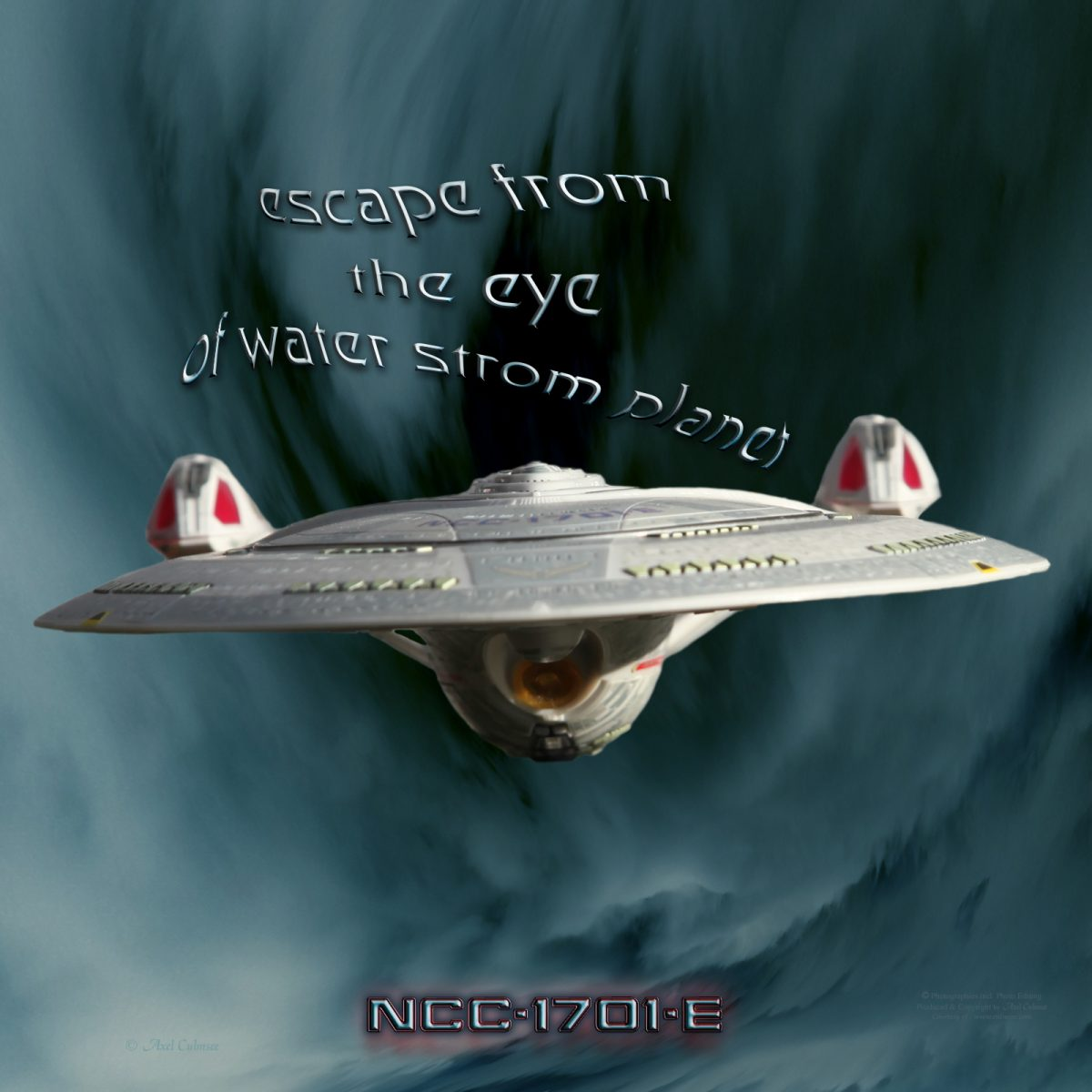Enterprise-E escape from water storm planet