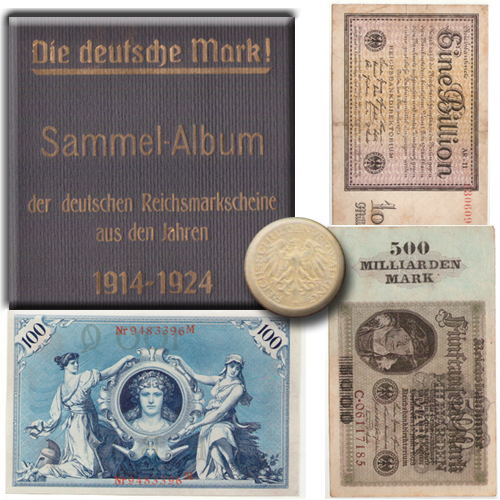 Album Die deutsche Mark, aus Sammlung Reichsmarkscheine von 1914-1924