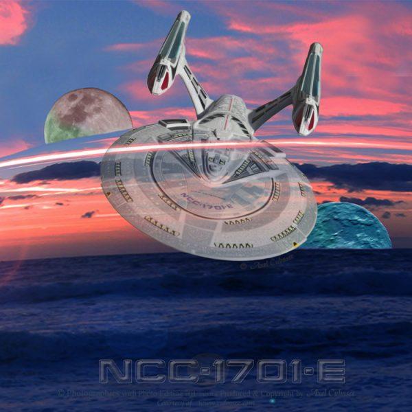 Enterprise-E entering New Risa's LensDropArea during moons dusk luni-solar tide