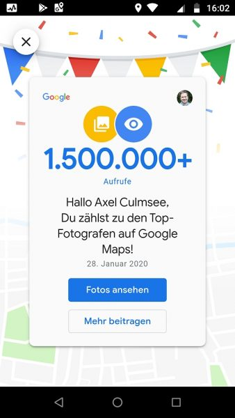 Google Maps Local Guide Fotograf-Experte 1500k views