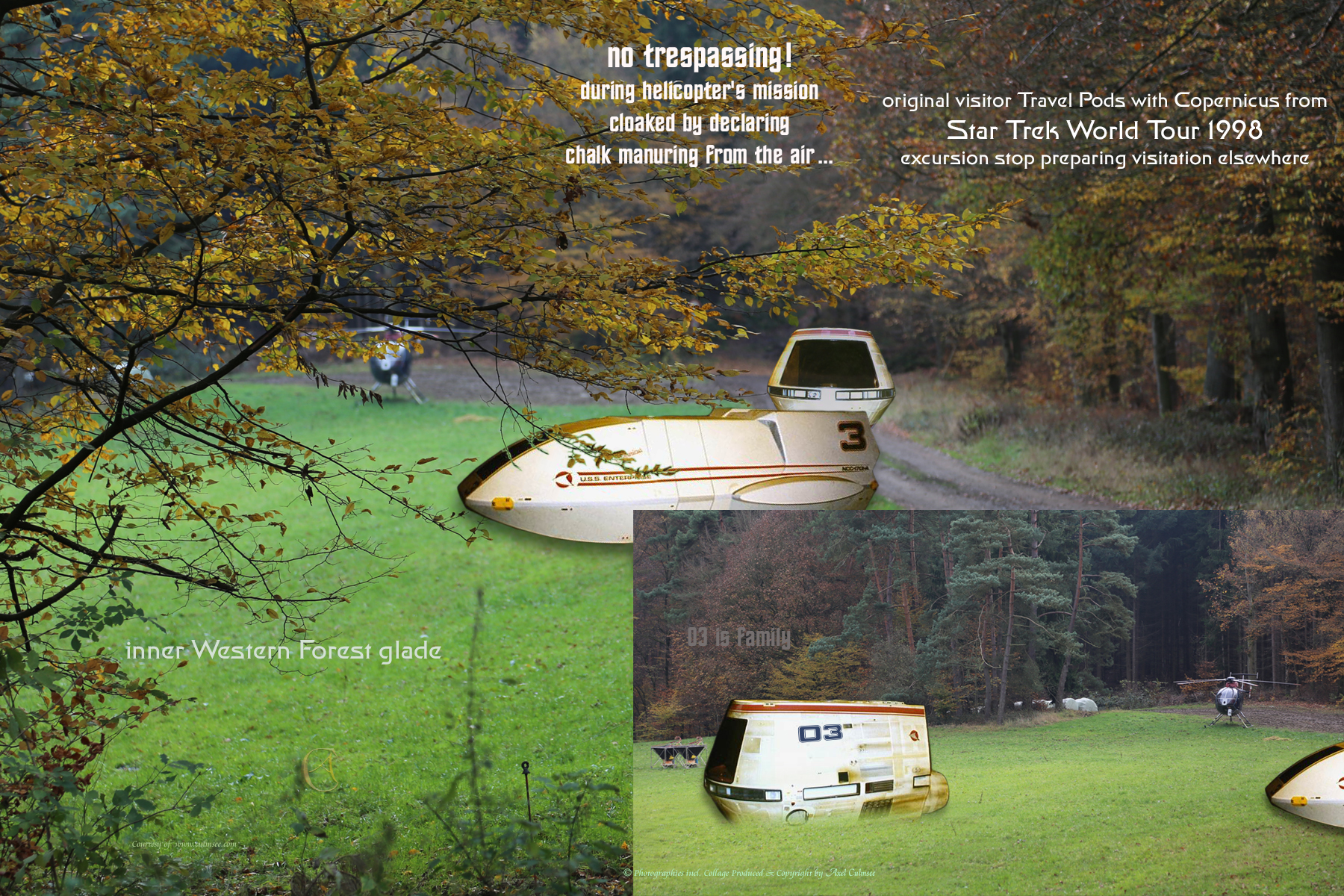 Travel Pods with Copernicus timeline STWT 1998 discovered on inner Western Forest glade
