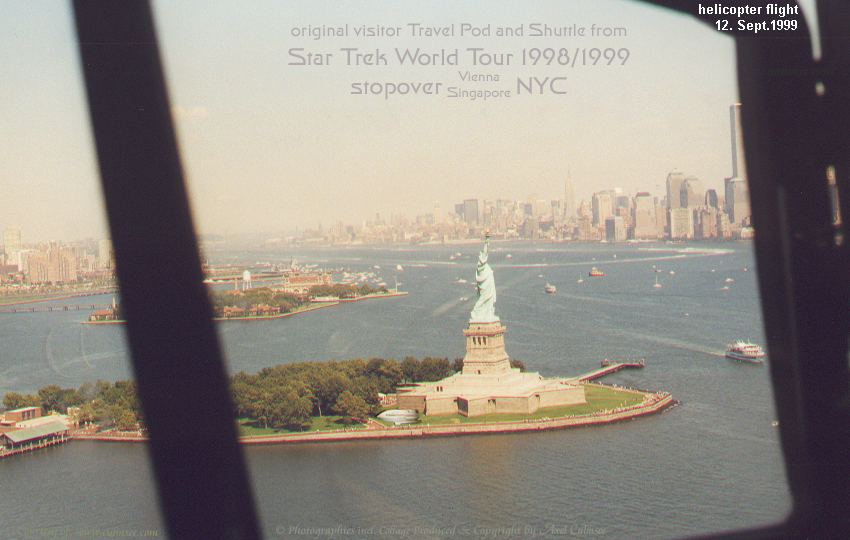 Star Trek World Tour 1998/1999 stopover NYC 1999 September helicopter flight Statue of Liberty Island slide 7-07A