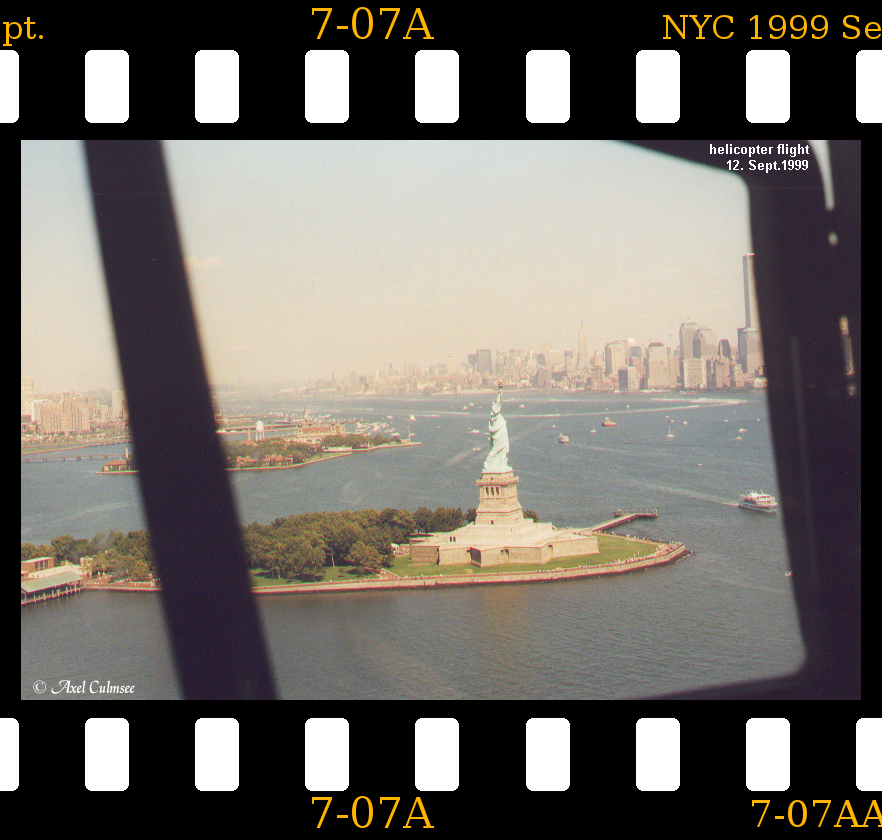 Statue of Liberty NYC 1999 September slide 7-07A seen during helicopter flight